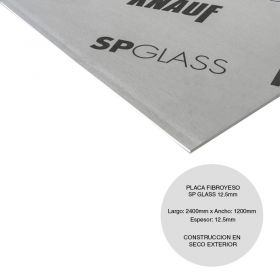 Placa fibroyeso construccion seco SP Glass borde recto exterior 12.5mm x 1200mm x 2400mm