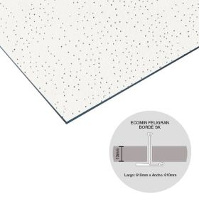 Placa cielorraso desmontable fibra mineral Ecomin Filigran borde SK 13mm x 610mm x 610mm 18u x caja 6.69m²