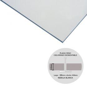 Placa cielorraso desmontable yeso Nebula blanca 8.5mm x 606mm x 606mm