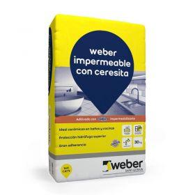 Pegamento piso y revestimiento ceramico Weber Impermeable con Ceresita bolsa x 30kg
