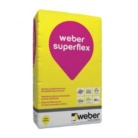 Pegamento piso y revestimientos Weber Superflex alta tolerancia termica bolsa x 30kg