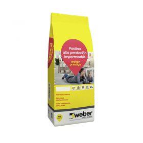 Pastina Weber Prestige Altas Prestaciones impermeable porcellanatos nieve bolsa x 2kg
