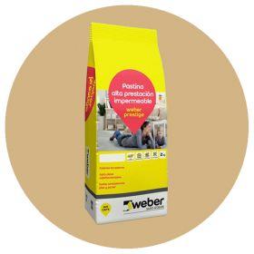 Pastina Weber Prestige Altas Prestaciones impermeable porcellanatos beige bolsa x 2kg
