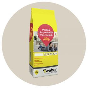 Pastina Weber Prestige Altas Prestaciones impermeable porcellanatos hueso bolsa x 2kg