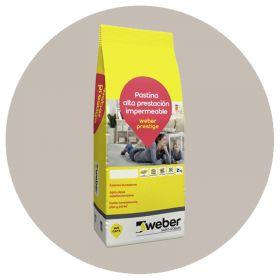 Pastina Weber Prestige Altas Prestaciones impermeable porcellanatos ceniza bolsa x 2kg