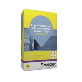 Mortero impermeabilizante hormigon Weber Imper F gris cemento bolsa x 25kg