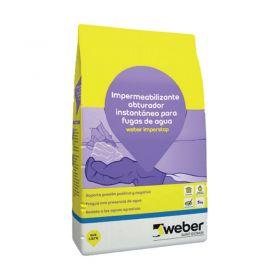 Mortero impermeabilizante obturador fugas agua Weber Imperstop instantaneo gris cemento bolsa x 5 kg