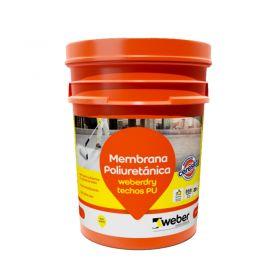 Membrana liquida impermeabilizante Weberdry Techos PU poliuretanica no transitable blanco balde x 20kg