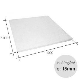 Placa aislante termico Isoplancha EPS densidad 20kg/m³ 15mm x 1000mm x 1000mm