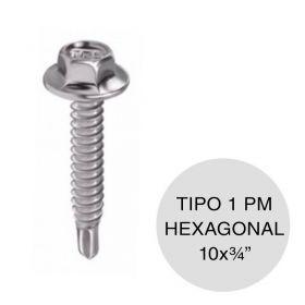 "Tornillo autoperforante hexagonal Tipo 1 punta mecha 10 x 3/4"" pack x 100u"